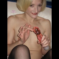 Petite With Vibrator - Blonde Hair, Small Tits, Stockings , Big Smile, Smiling With Her Vibe, Creamy White Skin, Blonde With Vibe, Holding Vibrator, Sitting Up In Bed, Vibe Pose, Fun Toy