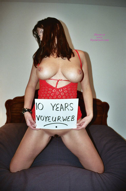 Celebrateing 10 Years Of Voyeurweb! - Big Tits, Brown Hair, Large Breasts, Long Hair, Natural Tits , Long Straight Brown Hair, Thick Erect Nipples, Kneeling On Bed, Big Natural Tits, Party Time, Red Lingerie, Human Billboard, 10 Years Voyeurweb Sign