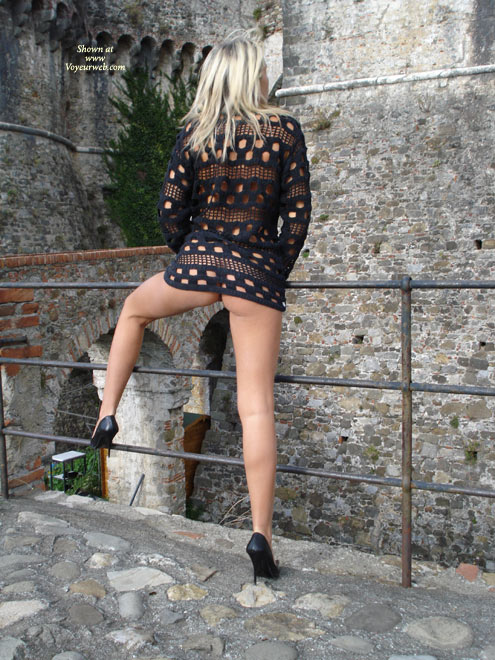 Pantyless Girl At A Castle - Flashing, Heels, Long Legs, Spread Legs , Pantyless In Castle, Pantyless, One Leg Up On Railing, Pantieless Woman On Bridge, Getting Air On The Pussy, Black See-through Top, Rear Pose With Leg Up, Kick Ass Shoes, Back Pose, Flashing In A Castle Ruin, High Heels And Pantyless Spread, Flashing Her Legs And Bum, See Through Shirt