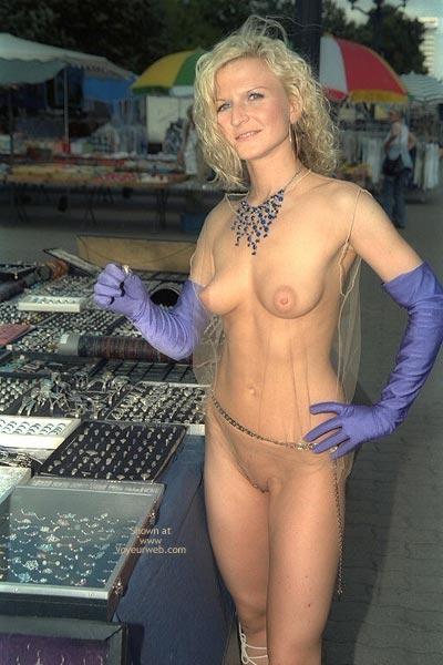 Naked Market Shopping - Smile , Naked Market Shopping, Bare Shopping, Blondie Babe, Elbow Gloves, Saucy Smile, Banana Boobs, Nude In Public