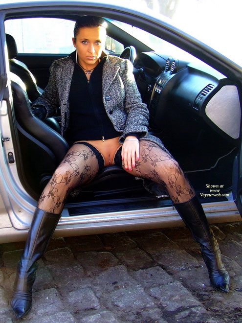 Pierced Pussy In A Car - Exhibitionist, Flashing, Long Legs, Stockings , Flashing Pussy, Stockings, Boots And Pierced Pussy, No Panties, Pantiless, Pussy Piercing, Long High Heeled Boots, Auto Erotic, Exhibitionist Outside