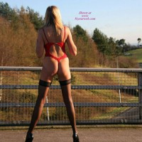 Girl Flashing On Bridge - Blonde Hair, Flashing, Long Hair, Long Legs, Milf, Stockings , Red Teddy, Hot Milf Ass, Long Shapely Legs, Back View, Ass On Overpass