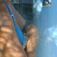 Nipple Wash - Flashing , Washing Tit, Hosing Down The Boobies, Boobs Showering, Splashed Nipple, Flashing Boob, Showering Outside, Boob Washing At Beach, Boob Rinse, Showering Tit, Washing Exposed Breast Ouside, Wet Tits, Lady In Bikini Using Outside Shower