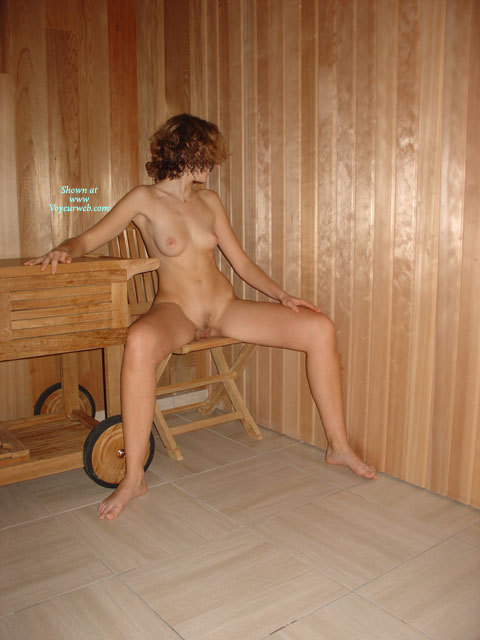 Slender Brunette Sitting Naked On Wooden Chair With Spread ...