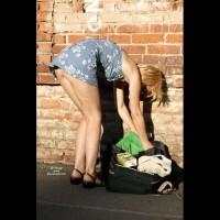 Street Voyeur - Blonde Hair , Floral Cotton Mini-dress, Short Skirt, Bending Over
