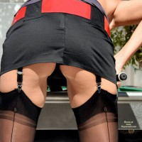Upskirt Of Pool Player - Upskirt , Black Mini Skirt, Voyeur Shot Of Pool Player, Thigh High Stockings, Nylons, Girl Playing Pool, Bent Over, Garter Belt, Outdoor Ass Shot, Red Belt