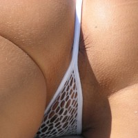 Sexy Bikini Asshole - Shaved Pussy , White Fishnet G-string, Closeup Of Asshole, Close Up Thong In Rear, Closup Of Thonged Pussy, Withe Fishnet G String, Tight Ass, White Wicked Weasle Thong, Fishnet Slip