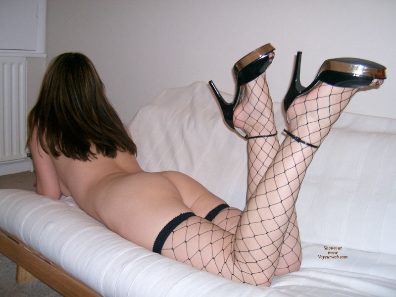 Whalenet Stockings - Heels, Naked Girl, Nude Amateur , Milky Skin, Nude Lying On Futon, Babe In Fishnet, Legs In Air, Ankles Crossed, Fishnet Stockings, Laying Face Down On A Couch, Black High Heel Sandals, Ankle Strap High Heels, Black Fishnet, Bottoms Up