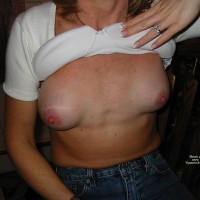 43 Year Old Milf , This Is My 43 Year Old Wife. She Went From A 32 AA Breasts To A Full 34B. Her Nipples Are Firm And Long. Do You Like Them?