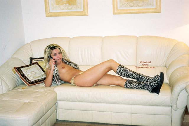Nude Girl On Sofa - Boots, Small Breasts, Small Tits , Nude Girl On Sofa, Leopard Boots, Leopard Top, On The Cell Phone, Small Breasts, Small Tits, Topless On Leather Couch