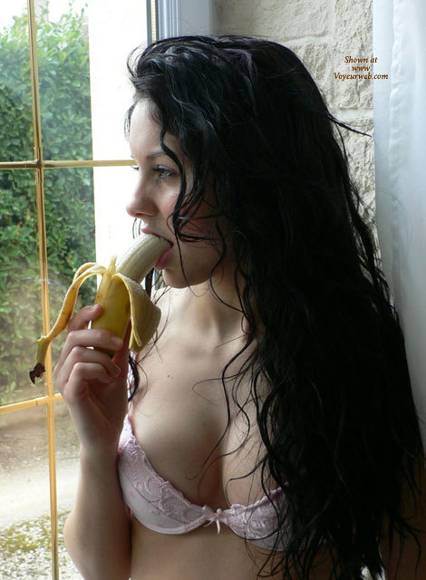 Young And Cute - Black Hair, Long Hair , Looking Through A Window, Succulent Banana, Eating Banana, Long Black Hair Eating Banana, Sexy Lips Biting Banana, Sexy Banana, Dreamy Look