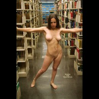 Nude Girl Standing In Library - Dark Hair, Exhibitionist, Flashing, Nude In Public, Shaved Pussy, Naked Girl, Nude Amateur , College Pose, Walking Aisles Nude, Nude Dark Hair Library, Torpedo Tits, Stripping In Library