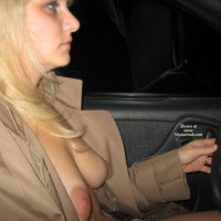 Exposing Breasts In Car - Blonde Hair, Large Aerolas, Natural Tits, Naked Girl, Nude Amateur , Breasts Exposed Under Coat, Profile Shot, Medium Blonde Hair, Driving At Night, Driving Car Semi-nude, Tits With Natural Hang, Beige Top Coat