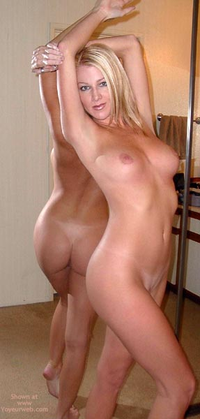 Nude Blonde Standing , Nude Blonde Standing, In Front Of A Mirror, Medium Sized Tits, Mirror Image