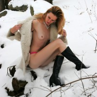 Naked In The Snow - Long Legs, Naked Girl, Nude Amateur , Nude In Winter, Diamond Necklace, Black Calf Boots, Winter Coat, Tiny Tits, Red Panties, Petite Breasts, Long Lean Legs, Fleece Coat