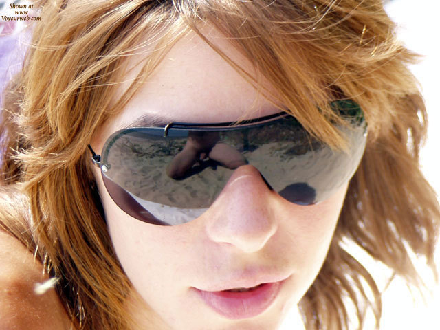 Photographer Reflection In Sunglasses - Brown Hair, Red Hair, Sunglasses, Naked Girl, Nude Amateur , Male Nude, Face Of Woman Wearing Sunglasses, Reflection, Naked Photog Reflection, Red Lips, Dick Reflection In Glasses