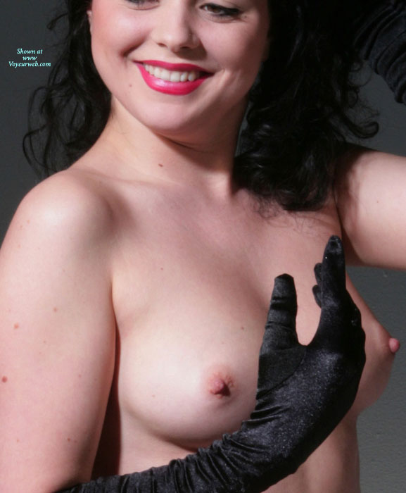 Smiling Topless Girl Wearing Long Black Gloves - Black Hair, Brunette Hair, Erect Nipples, Perfect Tits, Topless , Medium Tits With Erected Nipples, Perky Nipples, Topless Brunette, Lipstick, Smiling Topless With Red Lipstick, Naked With Black Gloves
