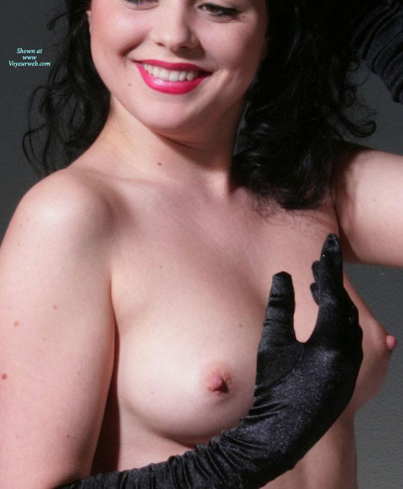 Smiling Topless Girl Wearing Long Black Gloves - Black Hair, Brunette Hair, Erect Nipples, Perfect Tits, Topless , Medium Tits With Erected Nipples, Perky Nipples, Topless Brunette, Lipstick, Smiling Topless With Red Lipstick, Naked With Black Gloves