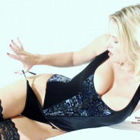 Black Lingerie - Thigh Highs, Sexy Lingerie , Black Lingerie, Blonde Thigh Highs, Panty Pull