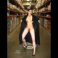 Full Length Nude Brunette Flashing With Black Coat Open In Store - Brunette Hair, Flashing, Nude In Public, Shaved Pussy, Small Breasts, Naked Girl, Nude Amateur , Warehouse Store Flasher, Tattoo On Hip Showing In Store, Holding Coat Open, Nude In Public With Shaved Pussy, Nude While Shopping, Exhibishionist Flashing In Store, Trench Coat Flash Of Small Breasts, Exposed In Public Wearing Glasses, Posed With Shopping Cart In Warehouse