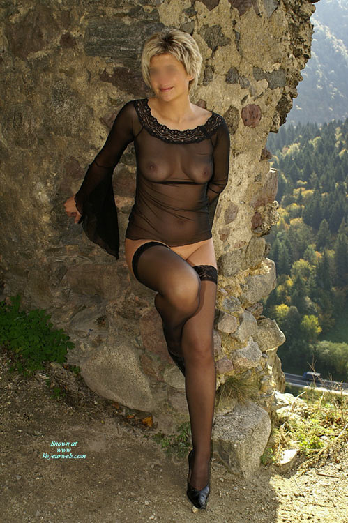 Black See Through & Stockings - Heels, Stockings, Naked Girl, Nude Amateur , See Thru Top, Black Sheer Chemise, Leaning Against A Wall, Stockings And Heels, Hose And Heels, Pantieless, Standing By A Wall, Black Lacetoped Stockings, Posing Outdoors Semi-nude, Seethru Black Top, See Through