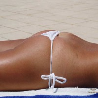 White Tied String Bikini - Tan Lines , Tanned Tush On Towel On Tile, Perfectly Fittting String Bikini, White Bikini, White Thong, Beach Girls, White G-string, Nice Tan Lines, String Bikini Showing Butt Crack, Bikini Bottom, Sunbathing