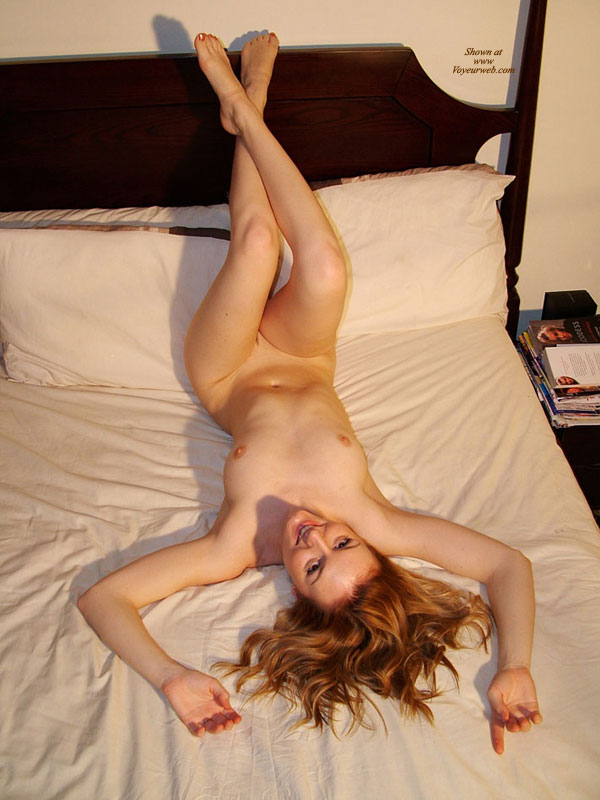 Legs On Headboard - Blonde Hair, Shaved Pussy, Nude Wife, Sexy Legs , Small Nipples, Crossed Legs, Strawberry Blonde Hair, Flowing Hair On Bed, Slender Feet, Inverted Lying On Her Back On The Bed, Knees Up, Arms Above Head, Legs Hiding Pussy