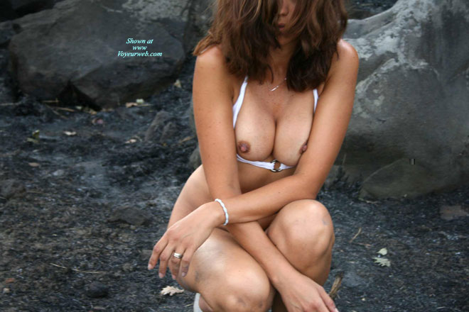 Nipples Peeking Out Of Bra - Brown Hair, Brunette Hair, Dark Hair, Erect Nipples , Big Squeezed Boobs, Nipples Slipping Out, Erect Brown Nipples, Frontal View, Outdoors On The Rocks, Naked Outdoors, Dark Nipples, Squatting Bottomless