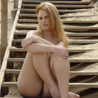 Sitting On The Stairs - Flashing, Nude Outdoors, Naked Girl, Nude Amateur , Hugging Her Knees, Flashing Pussy, Nude At The Beach, Eyes To The Camera, Legs Form An M, Arms Crossed, Classic Nude, Flashing Her Snatch, Legs Crossed, Sand And Wood