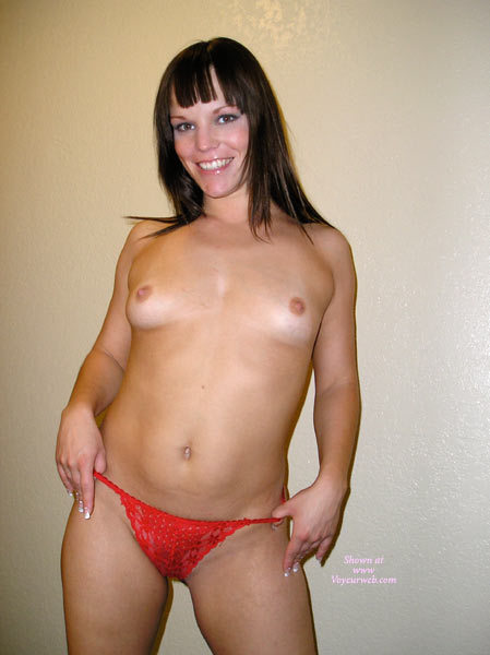 Topless Girl Smiling - Big Tits, Brown Hair, Small Breasts, Small Tits, Topless Girl, Topless, Small Areolas , Topless Girl Standing, Indoor Tits, Supple Young Body, Red Thong, Big Beautiful Smile, Uneven Breaasts