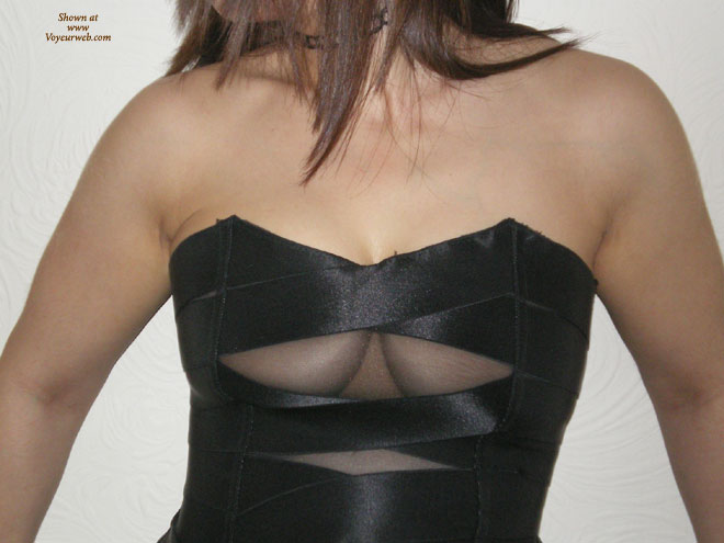 Dress With Cleavage Window , Strapless Black Dress, Black Bustier, Squished Bobs, Dress With A Window, Black Satin, Little Black Dress, Slits And Tits