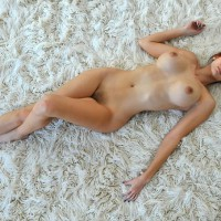 Lying On Rug - Brown Hair, Large Breasts, Long Hair, Long Legs, Naked Girl, Nude Amateur , Exceptionly Large Breasts, Extremely Thin Woman, Legs Together One Flat One Bent, Big Breasts On A Rug, Huge Boobs, One Knee Raised, Horizontal Position, Dark Areolas, Frontal Nude Lying On Rug From Above