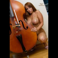 Kneeling Nude Frontal With Bass Violn - Large Aerolas, Large Breasts, Long Hair, Red Hair, Naked Girl, Nude Amateur, Small Areolas , Small Nipples, Pale Areolas, Red Head, Soft Ball Breasts, Tits And Bass, Bass, Sexy Lady, Woman With Musical Instrument, Long Red Hair