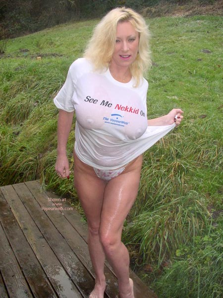 Big Breasts - Big Tits , Big Breasts, Wet Outdoors, Voyeurweb Tshirt, Wet Tee Shirt, Busty Blond In Wet Vw Wear, Wet And Wild