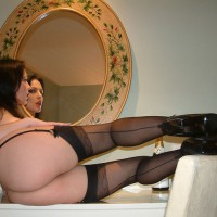 Hot Ass And Legs In High Heels And Stockings - Brown Hair, Dark Hair, Heels, Long Hair, Long Legs, Red Hair, Stockings, Hot Wife, Sexy Legs , Black Garter, From Behind, Girl In Mirror, Long Dark Brown Hair, Red Lips, Mirror Shot, Black Seamed Stockings, White Skin