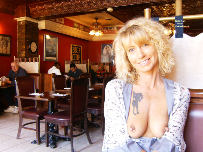 MILF Flashing In A Restaurant - Blonde Hair, Flashing, Milf, Nude In Public, Pierced Nipples, Naked Girl, Nude Amateur , Mature Blond, Big Erect Nipples, Tattoo On Breasts, Restaurant, Public Nudity, Nipple Jewelry, Long Pierced Nipples, Blue Print Blouse, Boob Slip, Mature Boobs With Random Tattoo, Public Nude