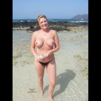 Topless At The Beach - Big Tits, Blonde Hair, Topless , Solid Breast, Large Round Tits, Topless On A Beach, Big Round Tits, Smiling Into Camera