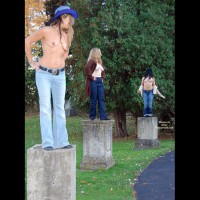 Three Topless Exhibitionists On Stone Pedestals By Road - Exhibitionist, Flashing, Natural Tits, Topless , Jeans, Live Statues Topless, Living Monuments, Naked On A Pedestal, Three Sets Of Natural Tits, Three Topless Girls On Pedestals, Live Art On Pedestals, Three Girls Comparing Tits In A Garden, Tits And Jeans