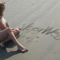 VW On The Beach , Dressed In Net, Vw On Sand In White Net Dress, Beach