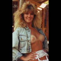 Open Denim Shirt Displaying Boobs And White Garter Belt - Blonde Hair, Tan Lines, Looking At The Camera , Shoulder Length Blonde Hair, Tanlines With A Blonde Twist, Big Hair Blonde With Denim Shirt Open, Country Girl Breast, Confident Happy Look, Tits With Tan Lines, Big Hair, Leaning Against Barn Door, Denim Jacket Open Exposing Erect Nipples, Puffy Nipples, Bikini Tanlines
