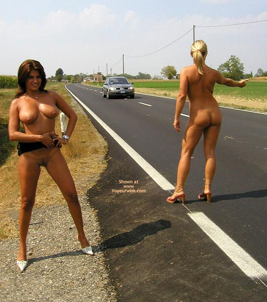 Naked Girls Hitchhiking - Naked Outdoors, Two Women , Naked Girls Hitchhiking, Naked Outdoors, White High Heels, Red High Heels, Nude Hitch Hiking, Two Women