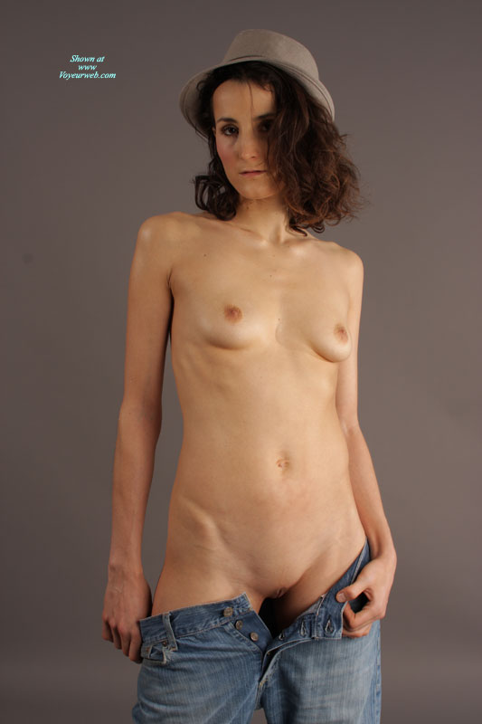 Brunette Naked In Hat And Jeans Pulled Down - Brunette Hair, Dark Hair, Shaved Pussy, Small Breasts, Small Tits , Small Brimmed Grey Hat, Petite In Jeans, Hat And Jeans, Undressing Blue Jeans, Open Blue Jeans, Grey Fedora, Blue Jeans Unbuttoned, Skinny, Studio Shot, Naked Lady Wearing A Hat, Button Up Jeans