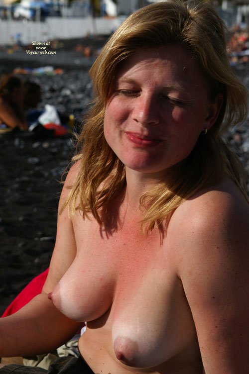 Topless Beach - Blonde Hair, Erect Nipples, Large Breasts, Topless , Outdoor Tits, Eyes Closed, Large Pear-shaped Breasts, Puffy Nipples, Pink Areolas, Blinked, Sun Warmed Breasts