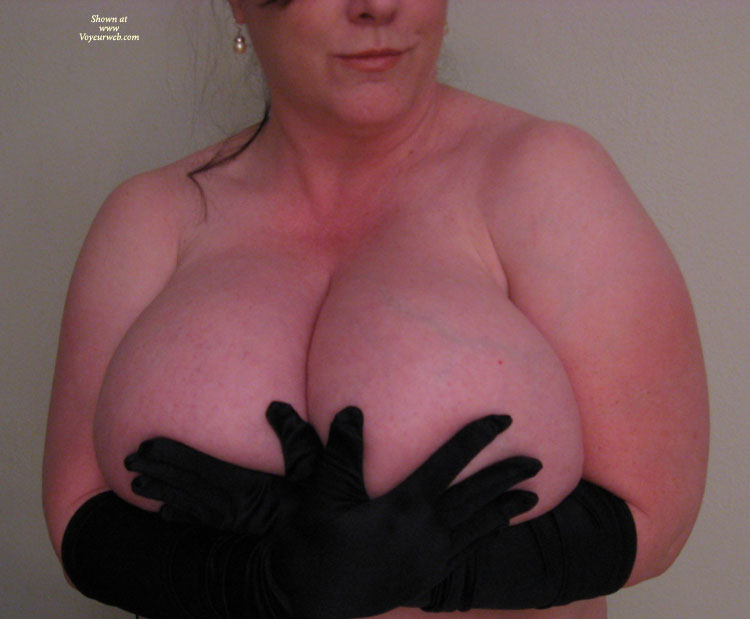 Black Elbow Length Gloves Holding Huge Boobs - Huge Tits, Natural Tits , Bra Busting Boobs, Pink Skin, Mammoth Knockers, Too Large Hands, Huges Tits, Huge Natural Tits, Gargantuan Breasts