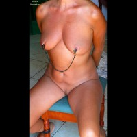 Nipple Clamps - Bondage, Firm Tits, Landing Strip, Trimmed Pussy , Hands Behind Her Back, Hands Behind Back, Hardware On Tits, Firm Legs, Nipple Pinchers, Nipple Clamped, Pinching Nipples