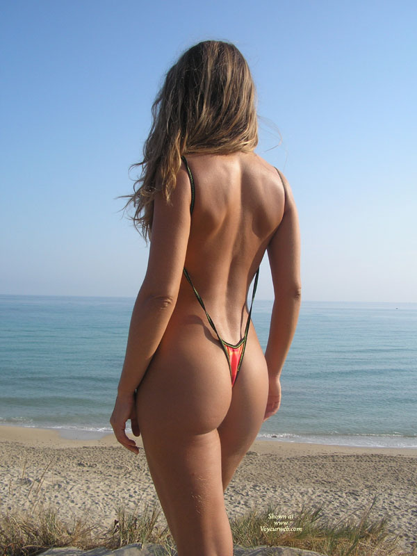 Crotch Floss - Blonde Hair , Beautiful Toned Ass, Shot From Behind, Right Up The Ass, Public Show, Rear View Thong, Sexy Sunbathing, At The Beach, Perfect Ass, Sandy Blonde, Ocean View, Barely There Swimsuit