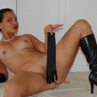 Exotic Looking Girl Reclining Naked With Long Gloves And Knee High Boots - Erect Nipples, Landing Strip, Shaved Pussy, Small Breasts, Spread Legs, Naked Girl, Nude Amateur , Small Breasts With Erected Nipples, Satin And Pearls, Black High Heel Boots, Pearl Earrings, Pearl Necklace, Legs Spread Wide, Lying Back Nude, Reclining, Shaved Pussy With Landing Strip, Gold Locket, Long Black Satin Gloves, Artistic On White