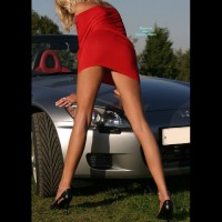 Very Long Legs - Blonde Hair, Heels, Long Legs, Sexy Legs , Wife Posing Her Legs In Front Of Car, Ankle Bracelet, Lady In Red, Long Thin Legs, Short Red Dress, Gray Honda, Tight Red Dress, Black Stiletto Heels, Sexy On The Car, Girl & Car, Slim, Little Red Dress