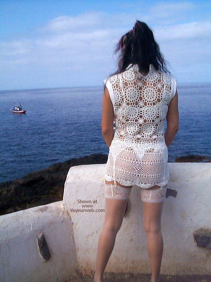 Pic #1 See Thru Dress & Stockings Outdoors