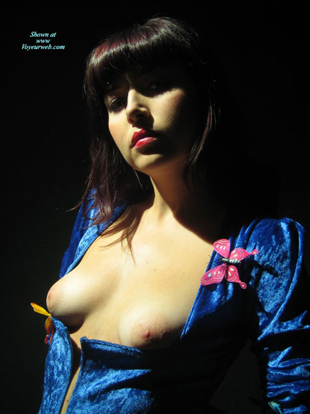 Blue Dress - Small Tits , Gothic Goddess, Pink Nipples, Blue Velour Dress, Dress Exposing Boobs, Non-erect Nipples, Very Red Lipstick, Very Deep Neckline, Pink Butterfly Pin